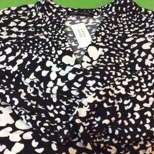 BANANA REPUBLIC PRINTED TUNIC DRESS in Black/White